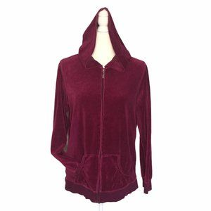 Velour Zip Front Hoodie with Pockets Burgundy Wine